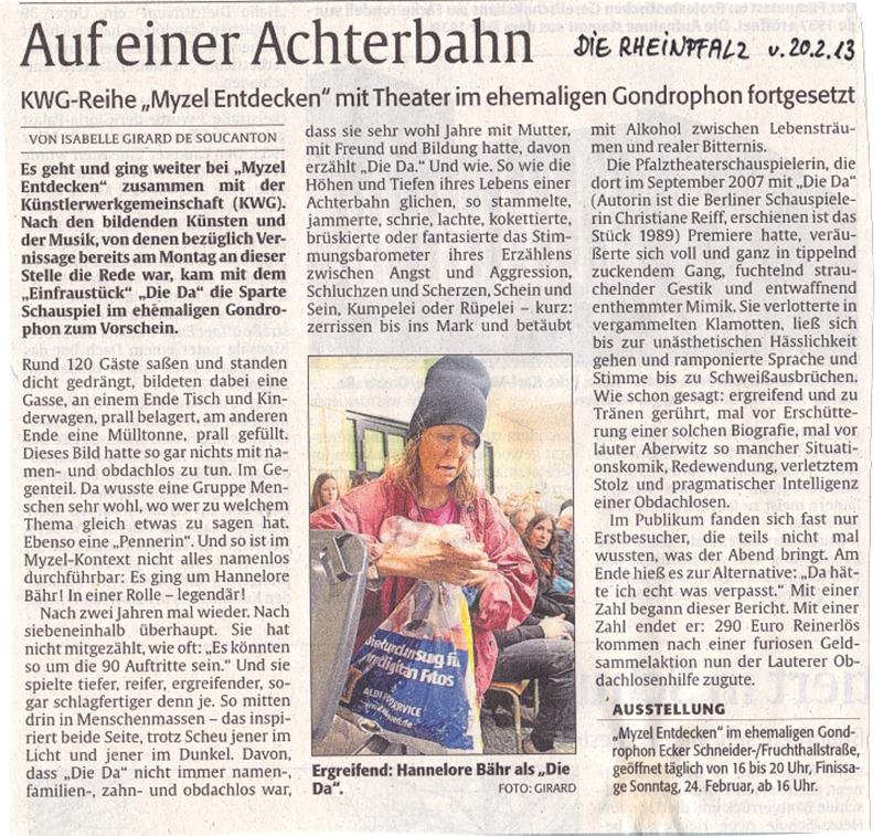 """""""Auf einer Achterbahn"""",  DIE RHEINPFALZ vom 20.3.2013"""