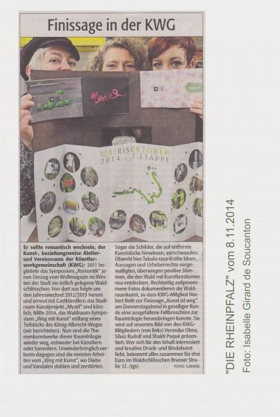 """""""DIE RHEINPFALZ"""" vom 8.11.2014. Text und Foto: Isabelle Girard de Soucanton."""